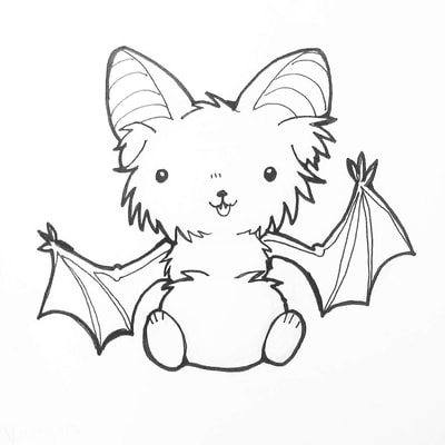 Prints- inktober - halloween - sfetsy -inked - bat - Illustrations - Coloring Books -Accessories-