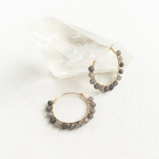 S For Sparkle - Gray -Quartz - Hoop Earrings - jewelry - earrings - WeHaveInCommons - Bay Area - Shop Local