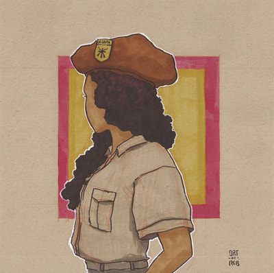 Brownpride - inktober - inktober2018 -  artofrobertliutrujillo -   chicana - chicano -civilrightsmovement - Black Panther Party - african americans - solidarity scouts - brown berets -inktober - sfetsy -
