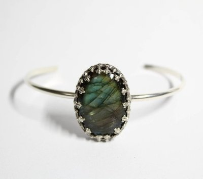 Shop Local - WehaveInCommons - Jewelry - Bracelet - Cuff - My Shiny Notions - Oval Bracelet - Labradorite -Sterling Silver -Cuff Bracelet