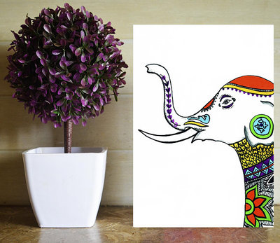 SoujanyaARao - Indian -Elephant  - Art Print - Home Decor - WehaveInCommons - CivicCenter - Shop Local - Wall Art