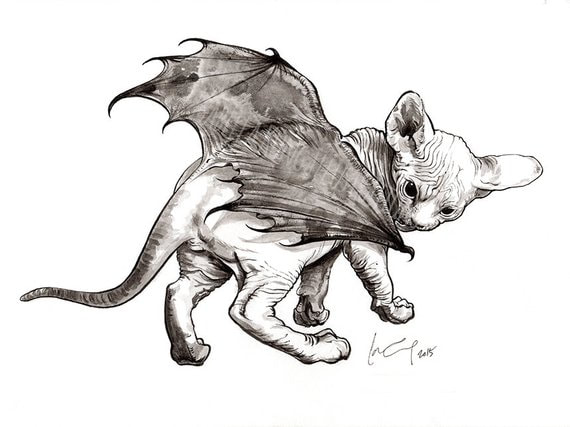cat- bat - Halloween - Little Diablo - Ink - Painting - Isabella Kung