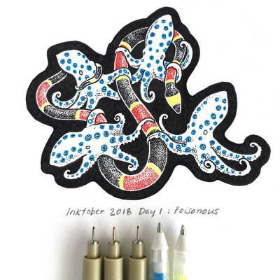 Poisonous - Jennifer Zee - Ginko Seed - Prints- inktober - halloween - sfetsy -inked   - poison - squid - octopus - inktober2018 - snake - coral snake