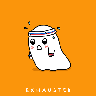 Prints- inktober - halloween - sfetsy -inked  - ghost - exercise - gym-  Exhausted - tired - Chanamon Ratanalert,  - Made by Chanamon