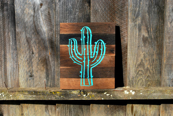 RusticMrk, EarthDay, SFetsy, Repurposed, Recycled, WOOD SIGN, SIGNAGE, Home Decor, Cottage Decor, Cabin Decor, Cactus